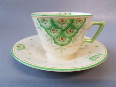 Vintage Crown Ducal Art Deco Cream And Green Cup And Saucer Regd No 780960