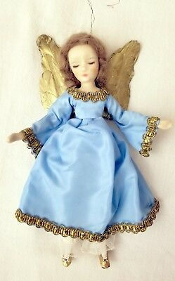 Wax Angel, with Blue Robe. Gold Wings. Western. German. Wax Face, Hair, hand.