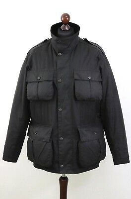 Mens A 998 BARBOUR TROOPER Multipocket Utility Wax Jacket size L Black AUTH