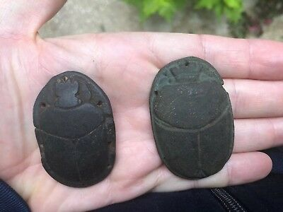 2 Ancient Egyptian Antique Ushabti Ceramic Scarab Relief Figures