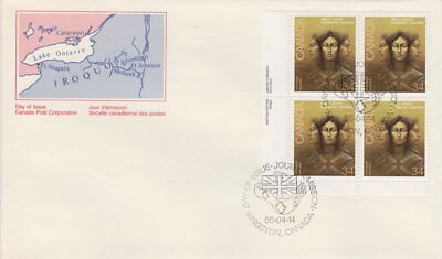 Canada #1091 34¢ Molly Brant LL Plate Block First Day Cover