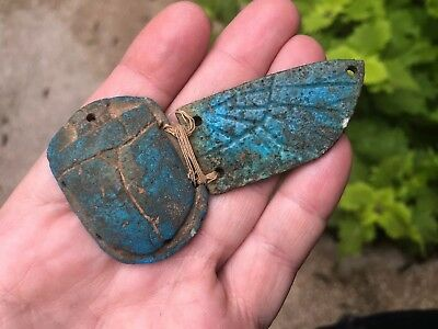 Ancient Egyptian Antique Ushabti Ceramic Scarab Figure With Wing