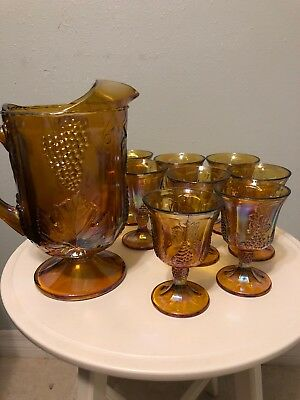 Vintage Amber Indiana Carnival Glass Pitcher & 8 Goblet Glasses Glassware Set