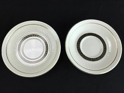 2 Shenango Gold Rim Saucer China New Castle Greek Key Plate Anchor Hocking