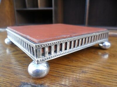 Antique Asprey Silver Plated Stand With Original Poole (Carter) Pottery Tile