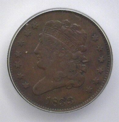 1833 Classic Head Half Cent  Icg F15 Lists For $100!