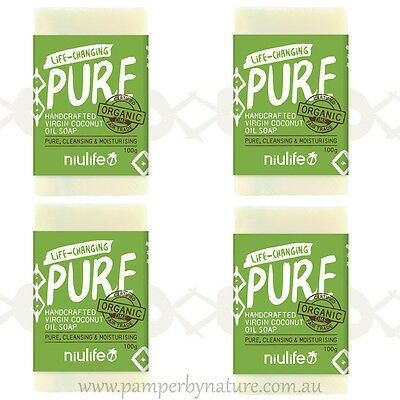Niulife Certified Organic Coconut Oil Soap 4 x 100g - Pure