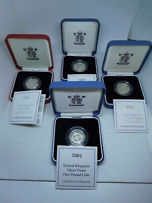Lot of 4 2001 United Kingdom Silver Proof One Pound Coins