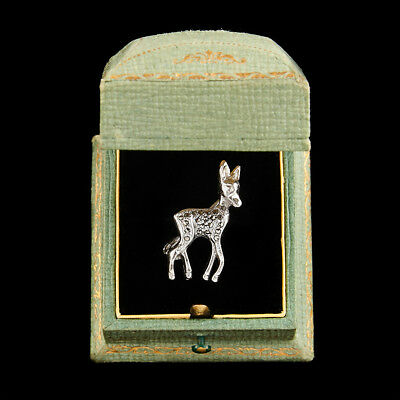 Antique Vintage Deco White Metal English Marcasite Petite Deer Fawn Pin Brooch