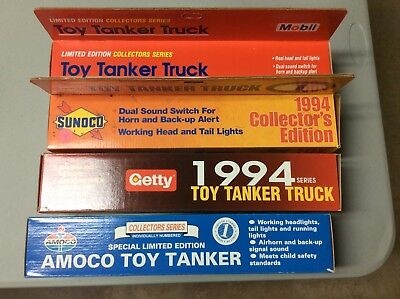Gasoline Toy Tanker Trucks Lot of 4 Sunoco, Amoco, Mobil and Getty