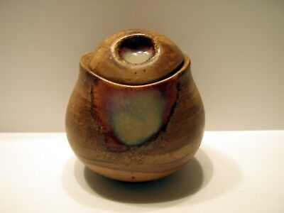 Oil Spill Slick Glaze Brown Clay Jar Made in China 4951