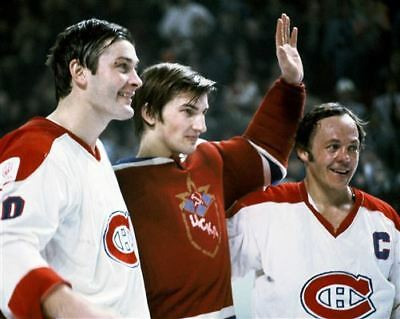 Peter Mahovlich, Yvan Cournoyer Montreal w/Vladislav Tretiak CSKA 8x10 Photo