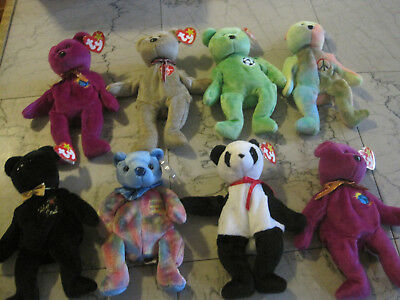 beanie babies 8 lot free shipping great shape all bears all tags