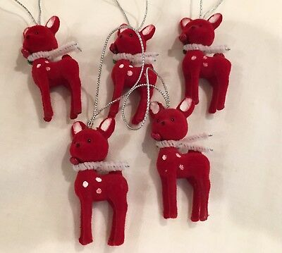Vintage Mini Flocked Red Reindeer Fawn Christmas Ornaments Lot of 5