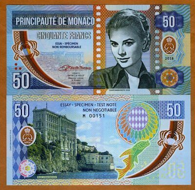 Monaco, 50 Francs, 2018 Private Issue Clear Window Polymer > Grace Kelly