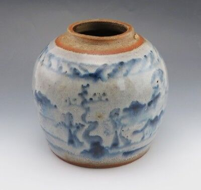 Beautiful Minyao Terra Cotta Colored Underglaze Blue Ginger Jar