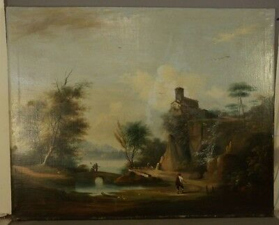 LG 19thC Antique VICTORIAN RIVER VALLEY Figural LANDSCAPE Old Church PAINTING