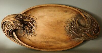 Antique FRENCH Signed CARVED Wood CHAFFS of WHEAT Old PRIMITIVE Tray PLATTER