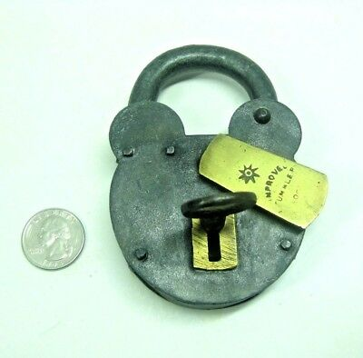 Antique Vintage Iron & Brass English Padlock 19th Century Improved Tumbler Lock