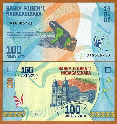 Madagascar, 100 Ariary, 2017 P-New UNC > Completely Redesigned, Frog