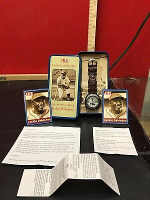 Life Legends of Baseball Jackie Robinson Leather Watch