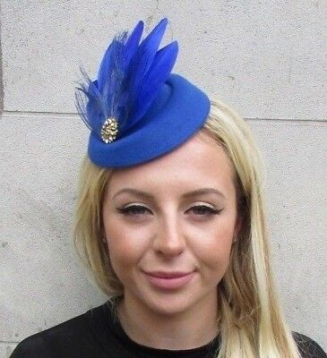 c7e0952a814 Royal Blue Gold Feather Pillbox Hat Hair Clip Fascinator Races Wedding Vtg  6371