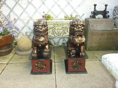 Large pair of Vintage foo dogs carved wood