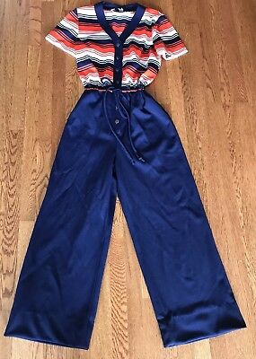 Vtg 60s 70s Polyester Playsuit Jumpsuit Shirt Top Drawstring Waist. Navy&Red
