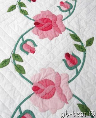 Romantic Cottage VINTAGE Heavenly Roses Applique Quilt PINK Scallops NEVER used