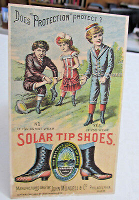 1880s-90s FORT WAYNE INDIANA Adv trade card Solar Tip shoes,Carnahan & Hanna co
