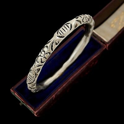 Antique Vintage Art Deco Silver Plated Chinese Ethnic Flower Bangle Bracelet