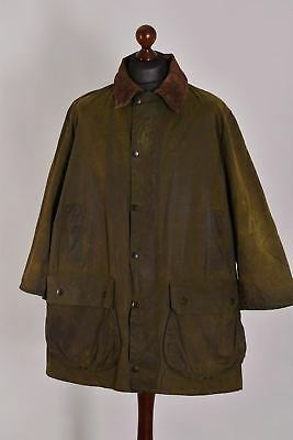 Men's Barbour Border Green Waxed Jacket Size C46 / 117cm Genuine Casual Waxed