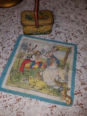 """VINTAGE """"EASTER """" CANDY TIN, Handkerchief & Bunny Brooch  TINDECO"""