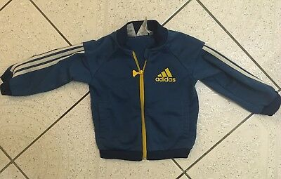 Baby Boys Blue Adidas Zip Up Sports Jacket Size 9-12 Months