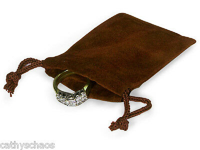 """25 Chocolate Jewelry Pouches 2""""x2-1/2 Cord Drawstrings Holiday Favors Gifts"""