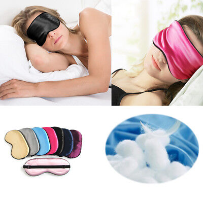 Luxury Pure Silk Sleep Mask Soft Travel Rest Blindfold Cover Adjustable Strap