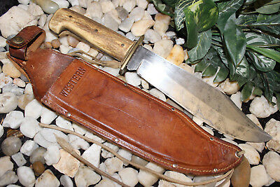 """Rare Early Vintage 14.5"""" Western Usa W49 Bowie Fighting Knife Thick Stag Handle"""