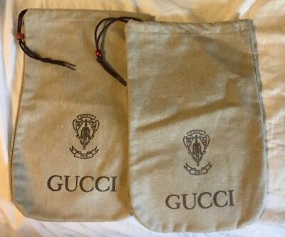 "2 Vintage Gucci Canvas 14"" X 9"" Bags Shoe? Covers"