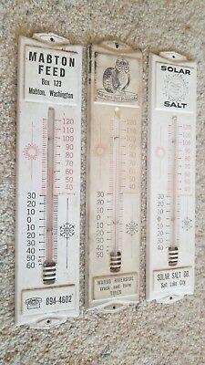 Lot of 3 Vintage Advertising Thermometers Riverside Tire, Mabton Feed