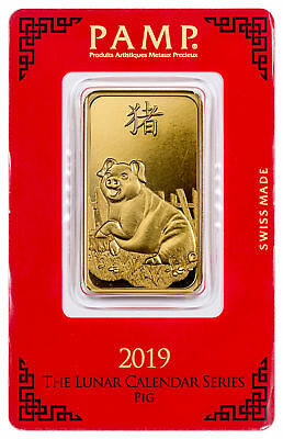 2019 PAMP Lunar Year of the Pig 1 Troy oz. Gold Bar In Assay Card SKU55598