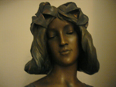 Exceptional Rare Art Nouveau Bust,goldscheider Maiden With Flowers In Her Hair