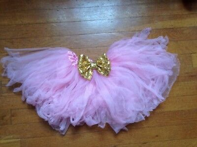 Toddler Pink Tutu with Gold Bow