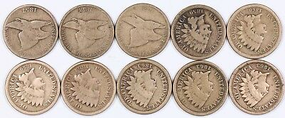 Lot of 10 Flying Eagle & Indian Head Copper-Nickel One Cent 1C 1857-1863
