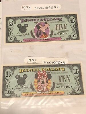 Lot of 19 Individual Disney Dollars - RARE DATES - Low Numbers - FREE SHIPPING!