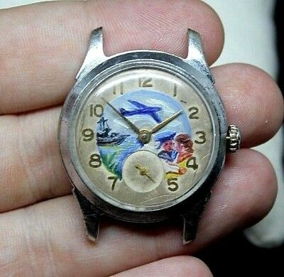 RARE POBEDA Vintage Watch USSR 100% original Hand painted dial 1950s