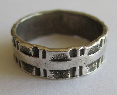 VTG ANTIQUE ART DECO GEOMETRIC STERLING SILVER WEDDING BAND RING Size 6