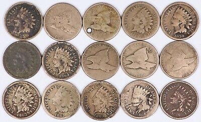 Lot of 15 Flying Eagle & Indian Head Copper-Nickel One Cent 1C 1857-1863