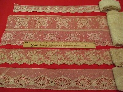 Lovely Lot 4 Different Ecru Vintage Victorian Lace Sewing Trims Some Yardage