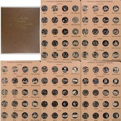 2004 to 2008 BU and Proof Commem Silver Statehood 25c 100 Coin Dansco Book Set