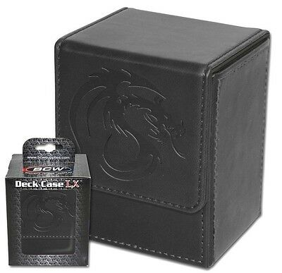 BCW Leatherette Deck Box with 80 Double Matte Guard Sleeves Black